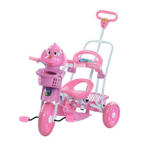 Triciclo-Cachorrinho-com-Capota-Rosa-3-Em-1---Passeio-Pedal-e-Balanco-Bel