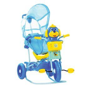 Triciclo-Cachorrinho-com-Capota-Azul-3-Em-1---Passeio-Pedal-e-Balanco-Bel