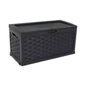 Bau-Multiuso-de-Plastico-Rattan-335-Litros-com-Assento-Para-2-Pessoas-Preto-Bel-